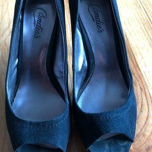 Candie's black suede heels